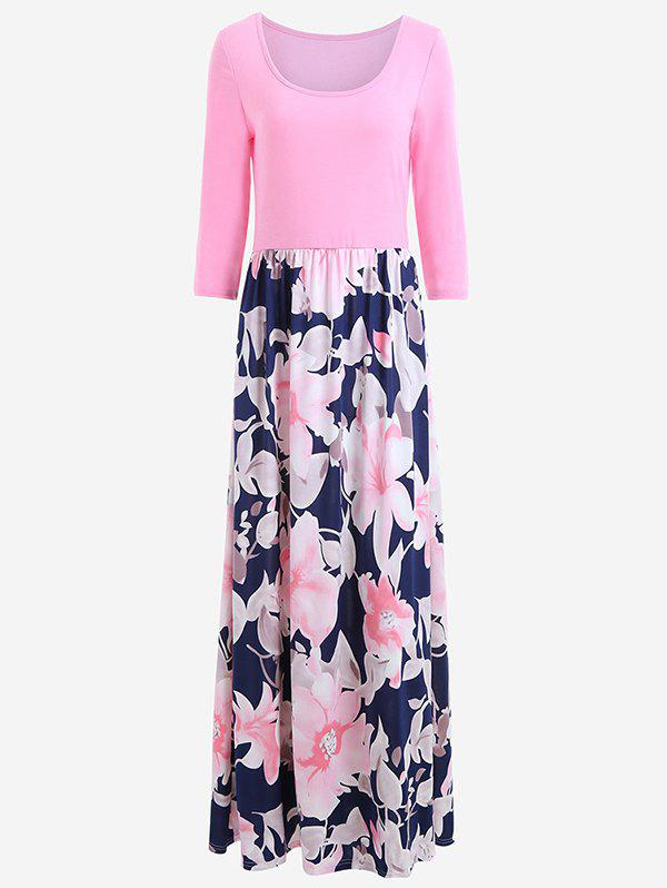 Latest Women's Dress Holiday Style Round Neck Print Color Blocking