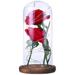 Simulation Hand Rose Flower Glass Cover LED Decoration Light -