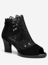 Peep Toe Lace Panel Ankle Boots -