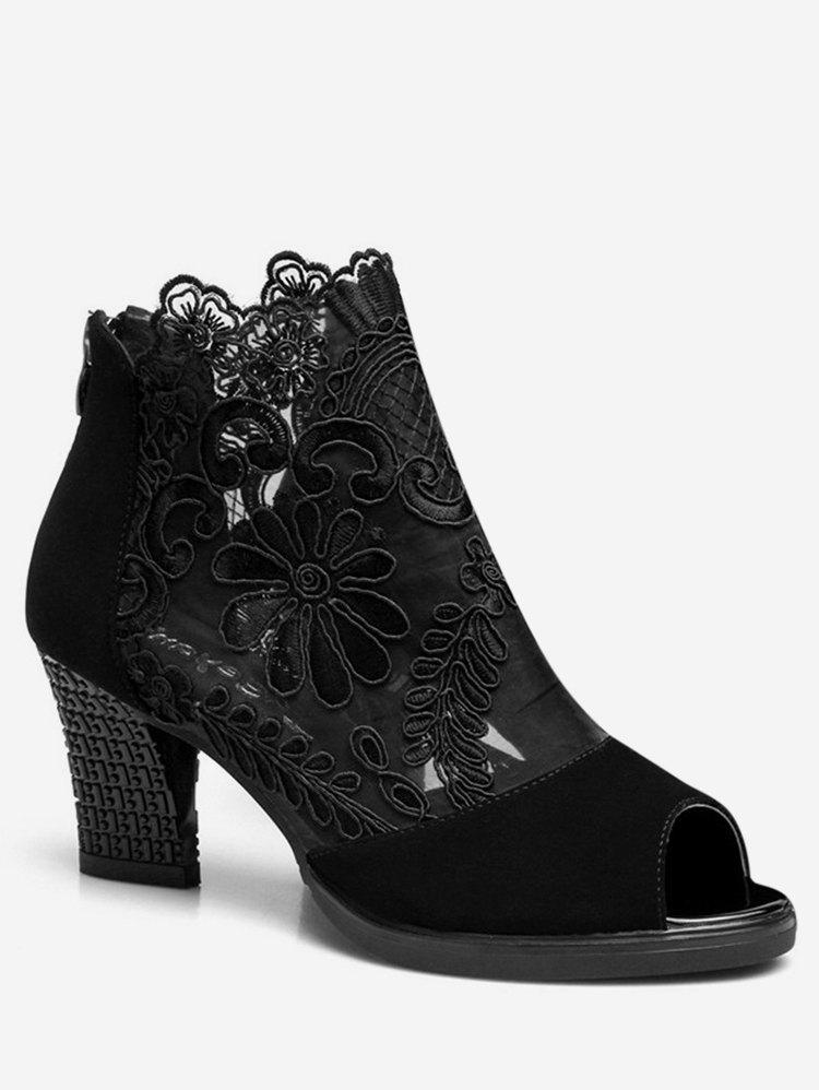 Outfit Peep Toe Lace Panel Ankle Boots