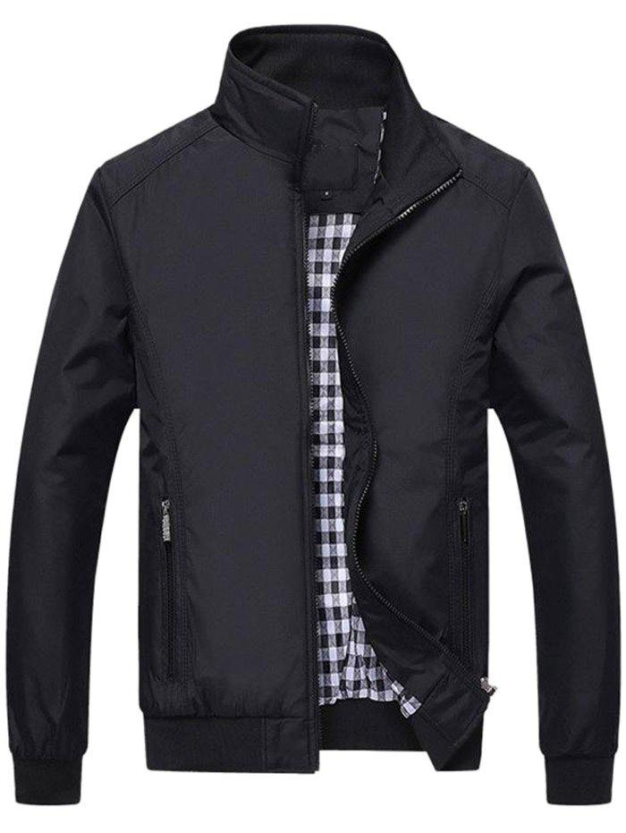Fashion Male Overcoat Casual Solid Slim Stand Collar Zipper Men Jackets