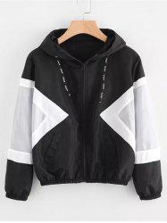 Women's Jacket Two-tone Stitching Hooded Long Sleeve -