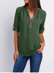 V-neck Zip Long Sleeve Loose Chiffon Shirt -