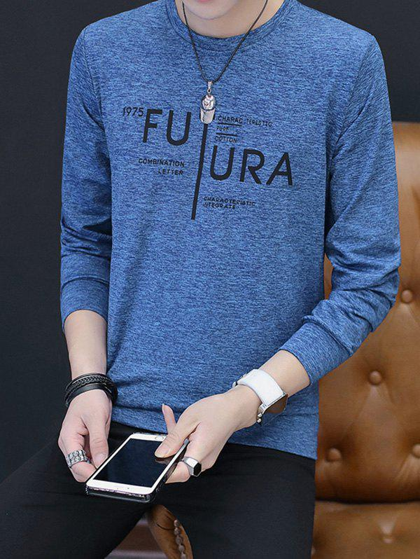 Bild von YST204 Fashion Men's V Neck Turtleneck Print Fashion Long Sleeve T-Shirt