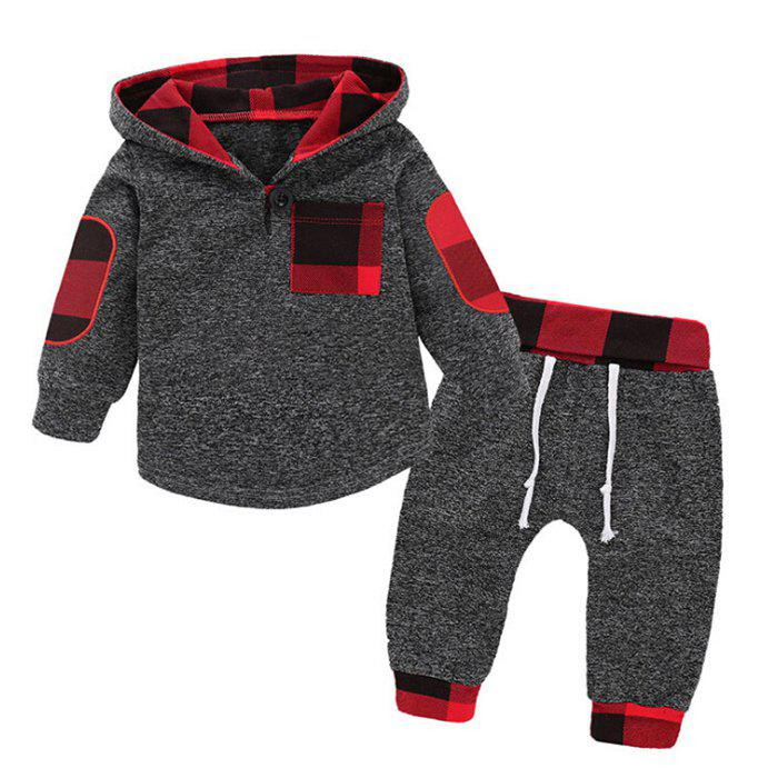Online Boy's Hoodie Suit Casual Hooded Plaid Stitching