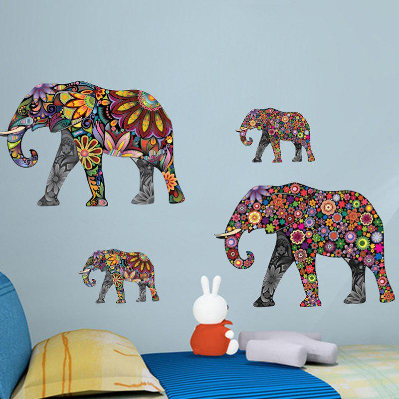 Pattern Elephant Living Room Decorative PVC Cartoon Mural Wall Stickers