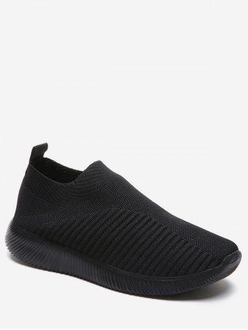 Knitted Striped Slip On Sneakers