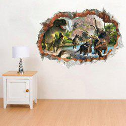 14184 3D Stereo Effect Dinosaur Broken Wall Home Decorations Removable Sticker -