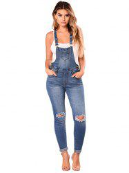786076 Sling High Waist Retro Hole Denim Overalls -