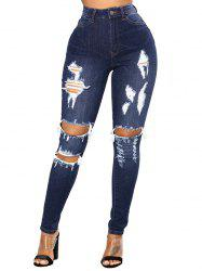 Women Slim Hole Comfortable High Waist Denim Jeans -