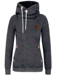 Solid Color Cardigan Diagonal Zipper Hoodies -