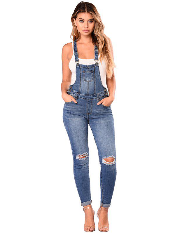 Sale 786076 Sling High Waist Retro Hole Denim Overalls