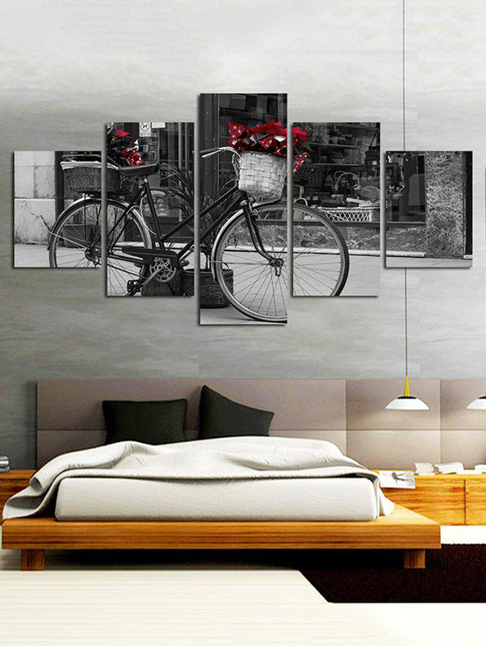 Chic Bicycle Print Split Unframed Canvas Paintings