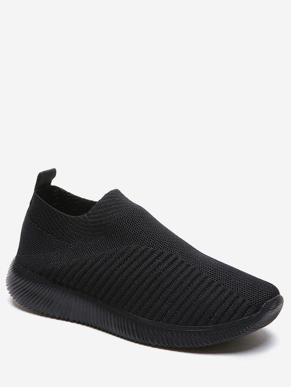 Hot Knitted Striped Slip On Sneakers