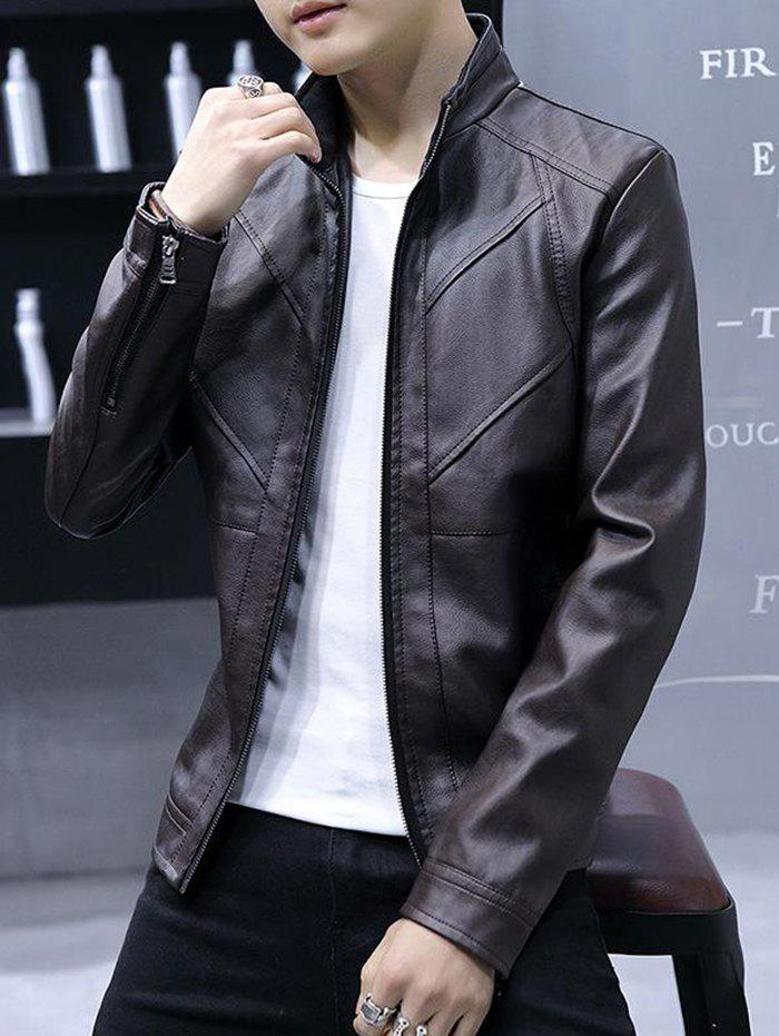 Trendy Fashion High Quality Solid Leather Men Jacket