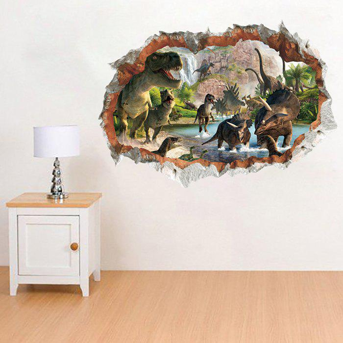Hot 14184 3D Stereo Effect Dinosaur Broken Wall Home Decorations Removable Sticker