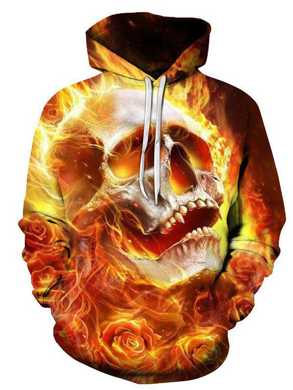 Discount Autumn Winter 3D Flame Skull Hoodies