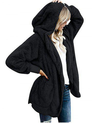 Women Long Sleeve Stylish Cardigan Coat with Cap