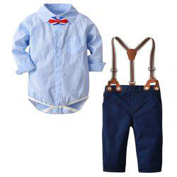 19F070 Light Blue Plaid Shirt Bow Tie Strap Trousers Boy Spring and Autumn Winter Gentleman Suit -