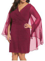 Women V-neck Sexy Chiffon Shawl Dress -
