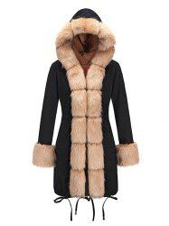 Women Slim-fit Long Fur Collar Hooded Cotton Coat -