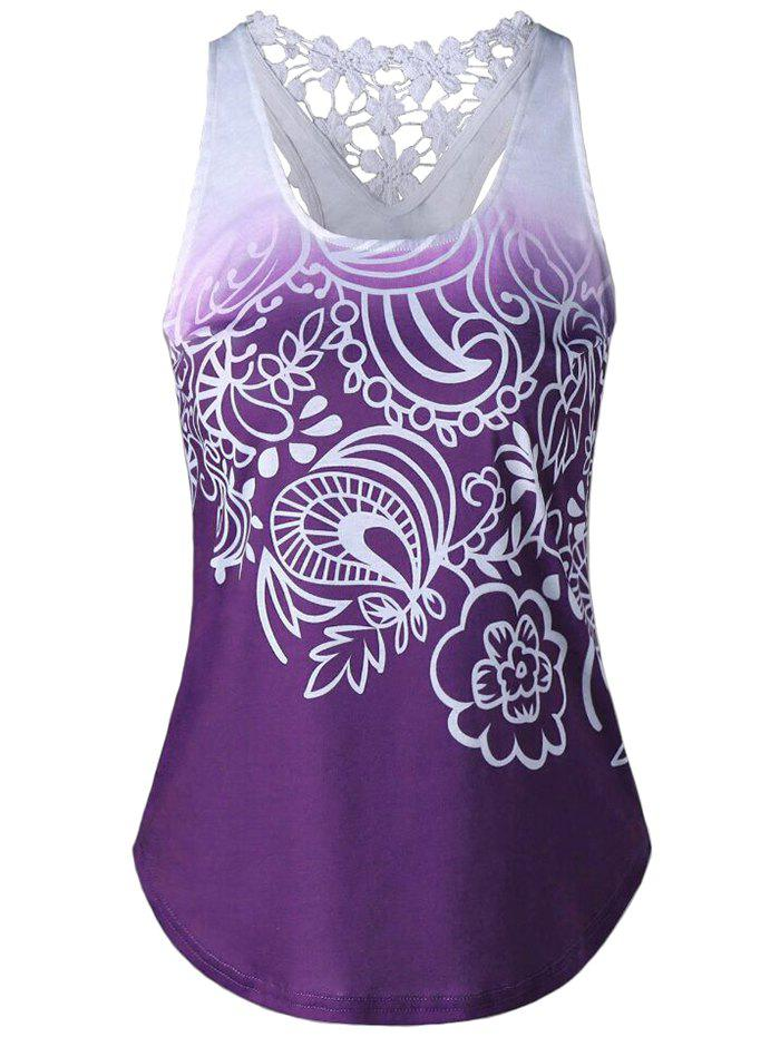Outfit Women Vest Tops Lace Stitching Print Sleeveless