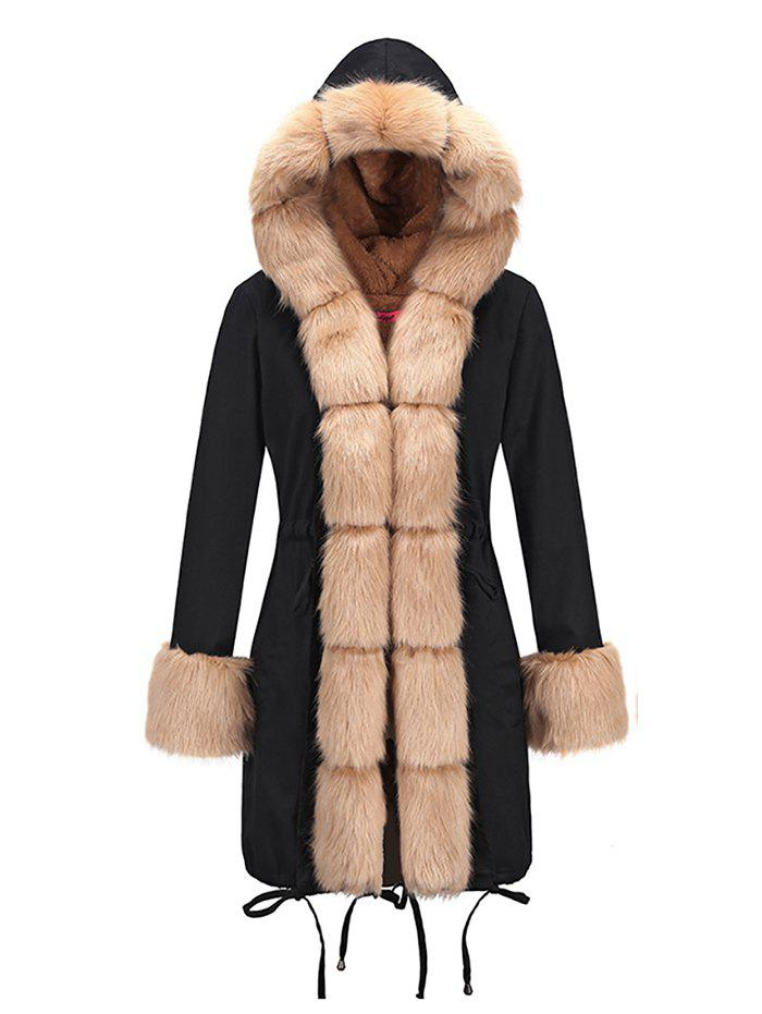 Discount Women Slim-fit Long Fur Collar Hooded Cotton Coat