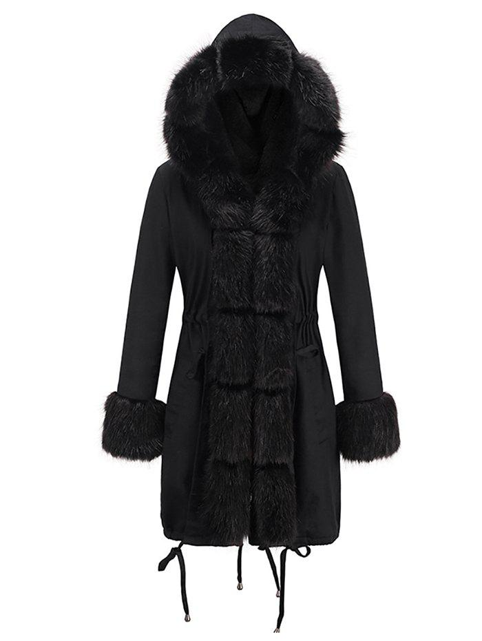 Outfit Women Slim-fit Long Fur Collar Hooded Cotton Coat