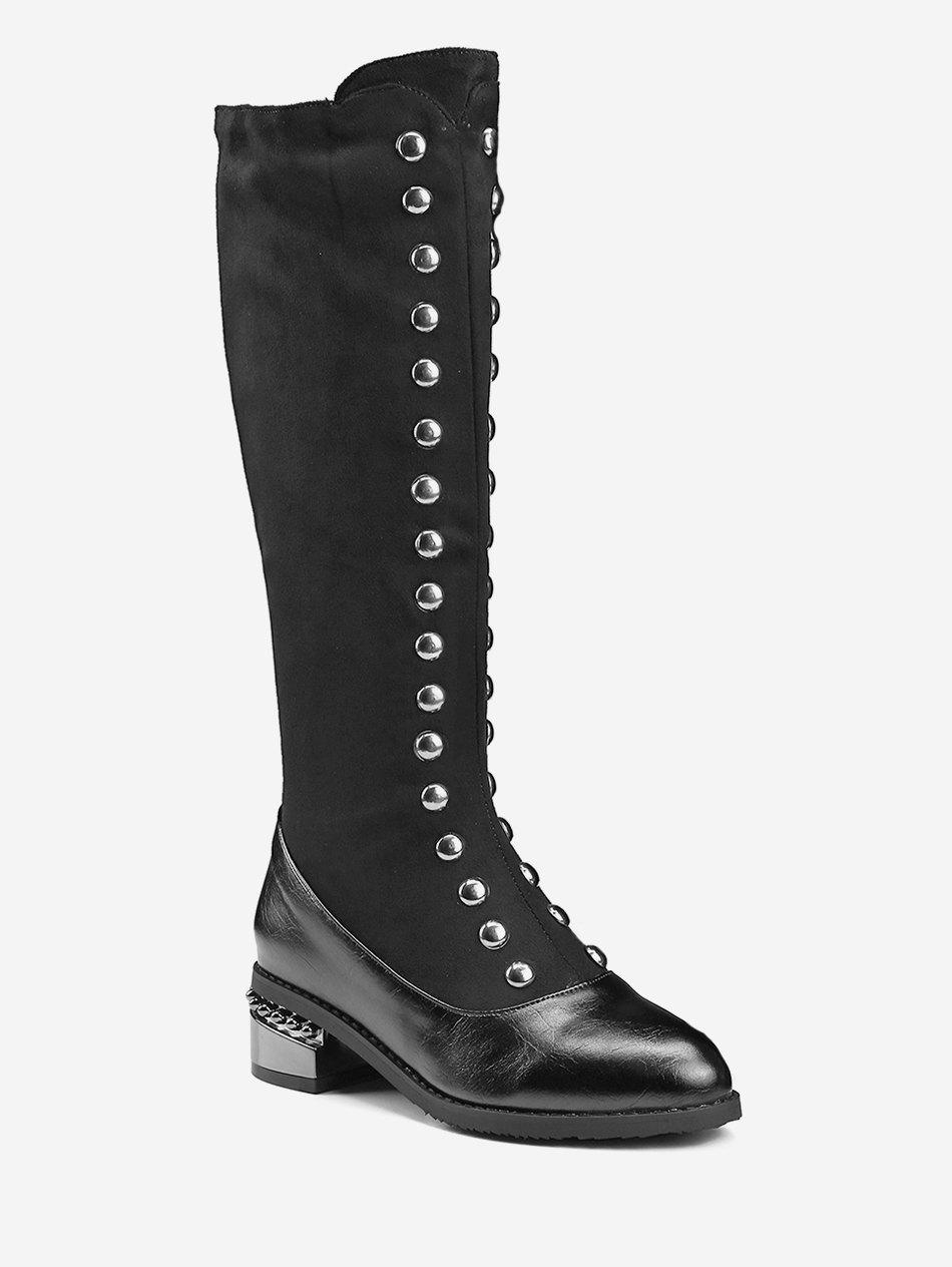 6c068887 Plus Size Double Studded Knee High Boots