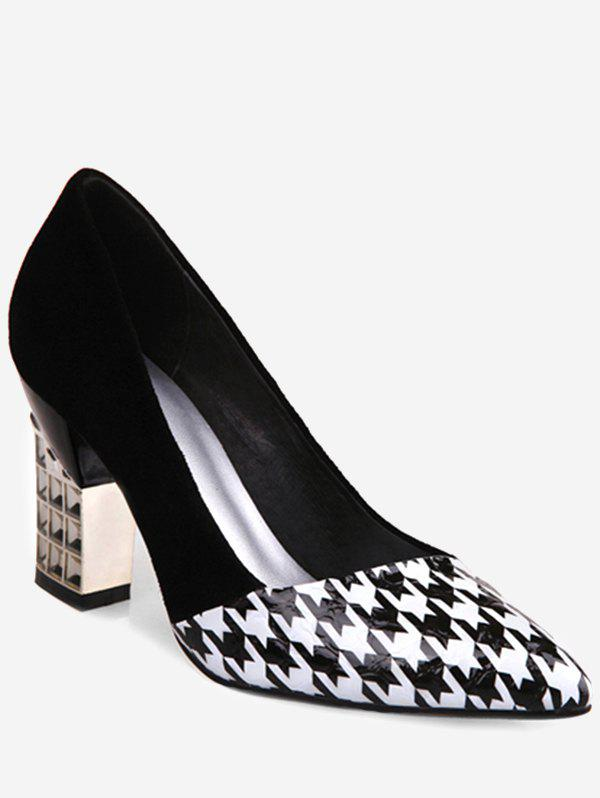 6999a2cd97de 2019 Plus Size Houndstooth Pointed Toe Heeled Pumps