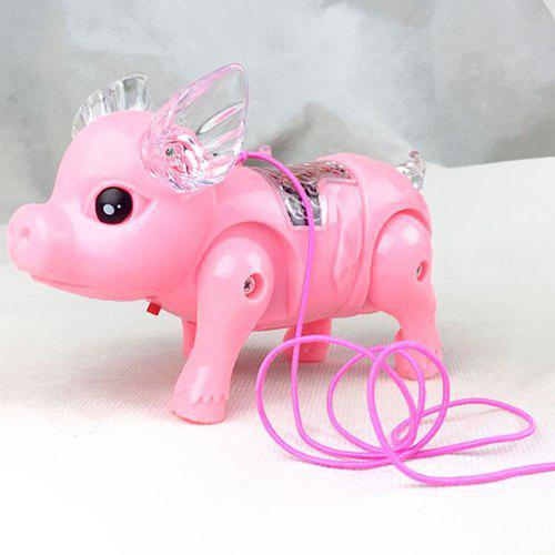 Fashion Electric Rope Walking Pig with Light Toy Gift for Children