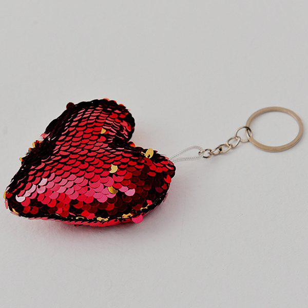 Store Creative Heart-shaped Sequin Pendant Keychain