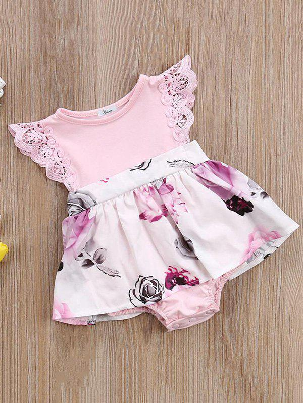 Outfits Girls Summer Butterfly Sleeves Sweet Flower Print Dress