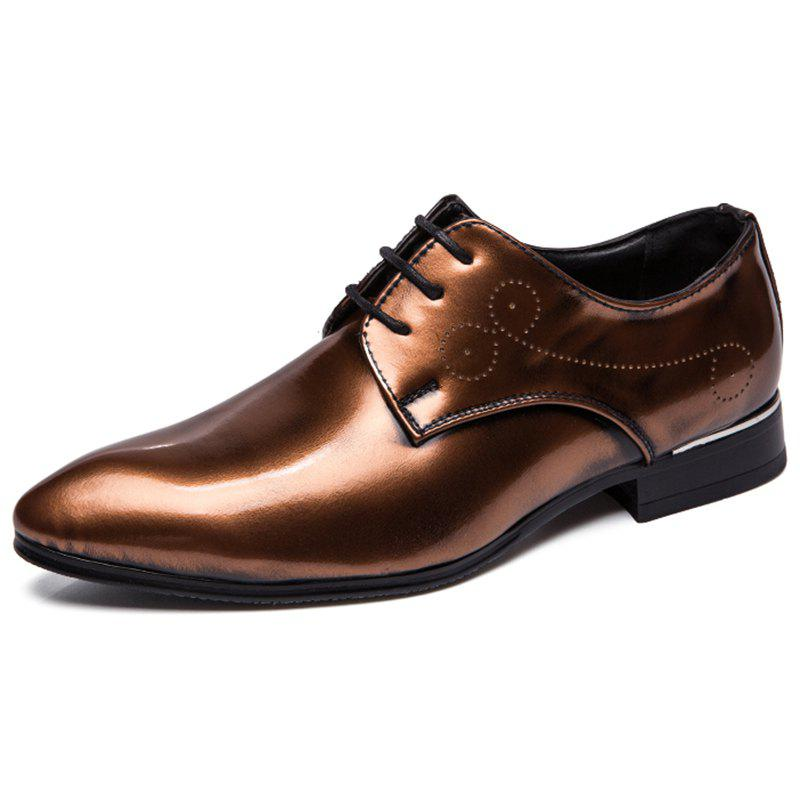 Store Business Tipped Color Lace-up Leather Formal Shoes