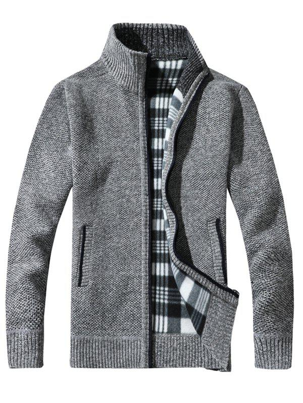 Latest KS100 Stand Collar Casual Men's Sweater Cardigan