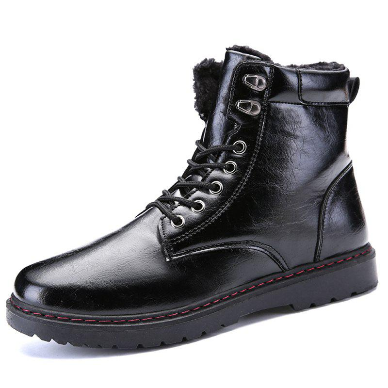 Store Men Stylish High-top Brushed Warmth Boots