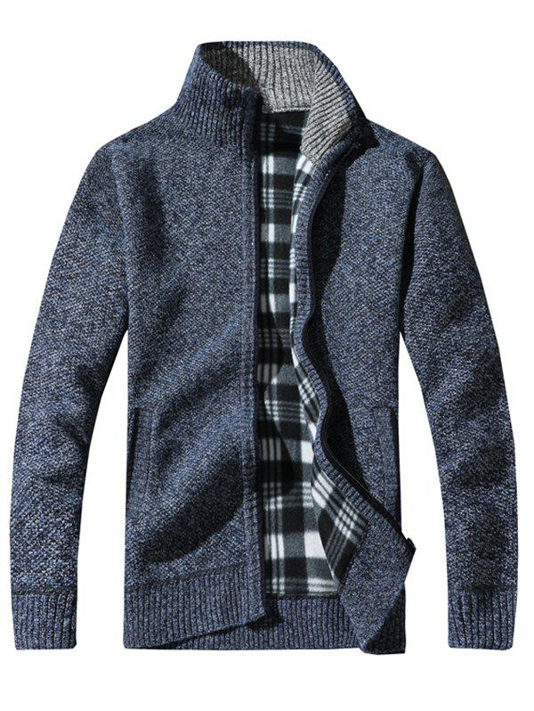 Fashion KS100 Stand Collar Casual Men's Sweater Cardigan