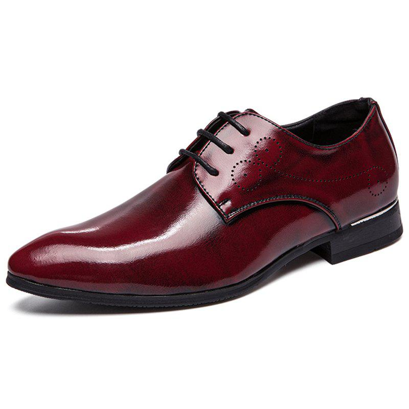 Trendy Business Tipped Color Lace-up Leather Formal Shoes