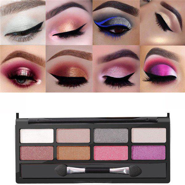 Unique 8 Color Pearl Matte Tray Brush Flash Metallic Makeup Eye Shadow