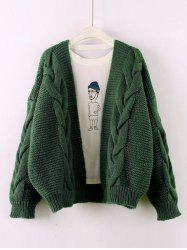 Solid Color Knit Cardigan Thick Sweater -