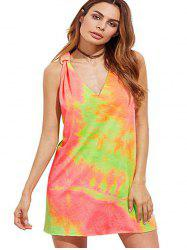 Sexy Women's Printed Tie-dyed Cross Open Back Dress -
