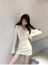 Fashion V-neck Long-sleeved Slim Ladies Bottoming Shirt -