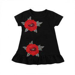 FT8058 Girls Cotton Rose Embroidered Pleated Sweet Dress -