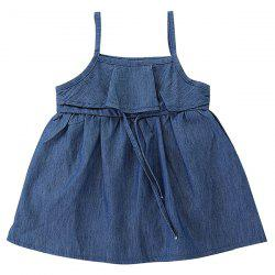 FT1500 Summer Simple Denim Lace Up Girl  's Dress - Bleu Foncé Toile de Jean 1 - 2T