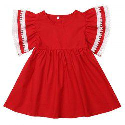 FT28718 Baby Girl Sweet Lace Bow Sister Dress -