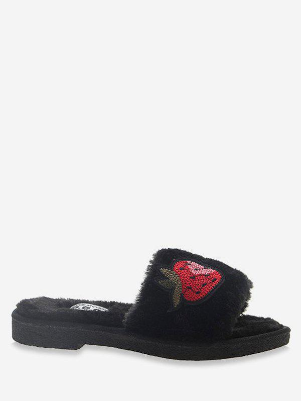 Trendy Strawberry Embroidered Plush Slippers