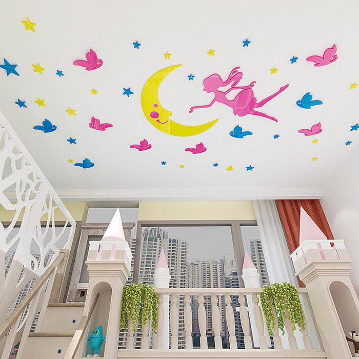 Z1122 Moon Girl Ceiling Bedroom Stereo Wall Sticker