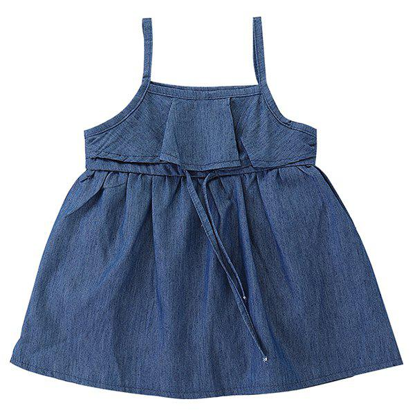 FT1500 Summer Simple Denim Lace Up Girl  's Dress Bleu Foncé Toile de Jean 1 - 2T