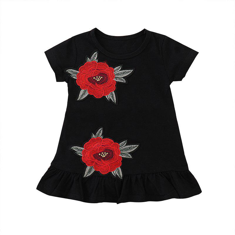 Best FT8058 Girls Cotton Rose Embroidered Pleated Sweet Dress