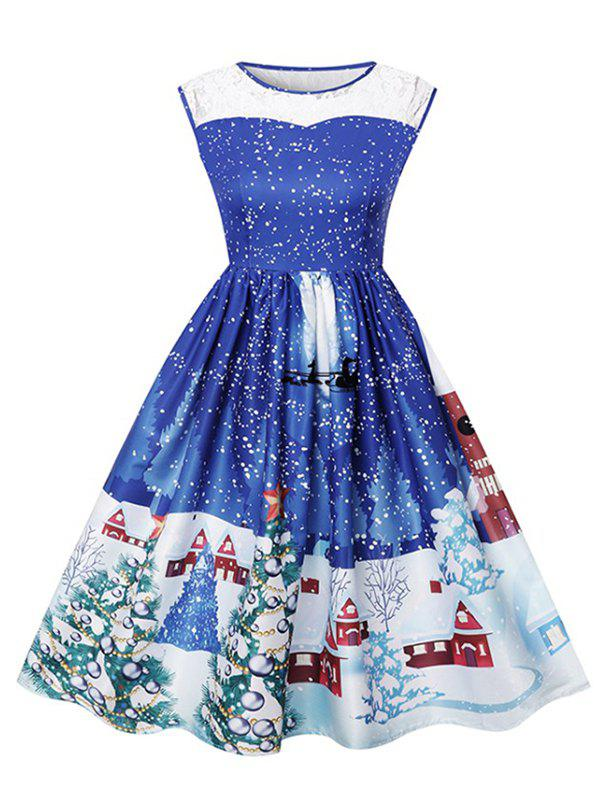 Trendy Christmas Print Lace Ladies Dress